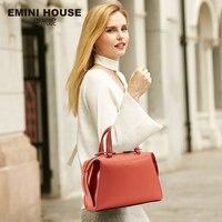 EMINI HOUSE Split Leather Women Handbags Messenger Bags Knitted Ladies Hand Bag Shoulder Bag Female Crossbody Bags For Women