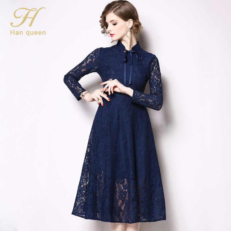 H האן מלכת נשים אונליין מקרית תחרת שמלה חדשה 2019 אביב קשת כחול שחור אופנה חלול החוצה אלגנטי נשים של מסיבת שמלות