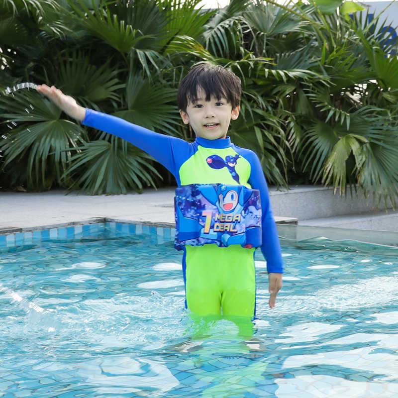 3D Kartun Apung Float Swimsuit One Piece Lengan Panjang Full Body Baju Renang untuk Anak-anak Belajar Berenang Pelindung Baju Renang