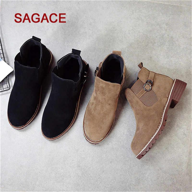 Sagace Giày Nữ Mũi Tròn Giày Phẳng Boot Khóa Dây Da Lộn Màu Giày Bốt Martin