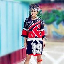 hip hop Camiseta larga de la señora del verano punk break dance mujeres tops kpop rave temas hippie tee 2019