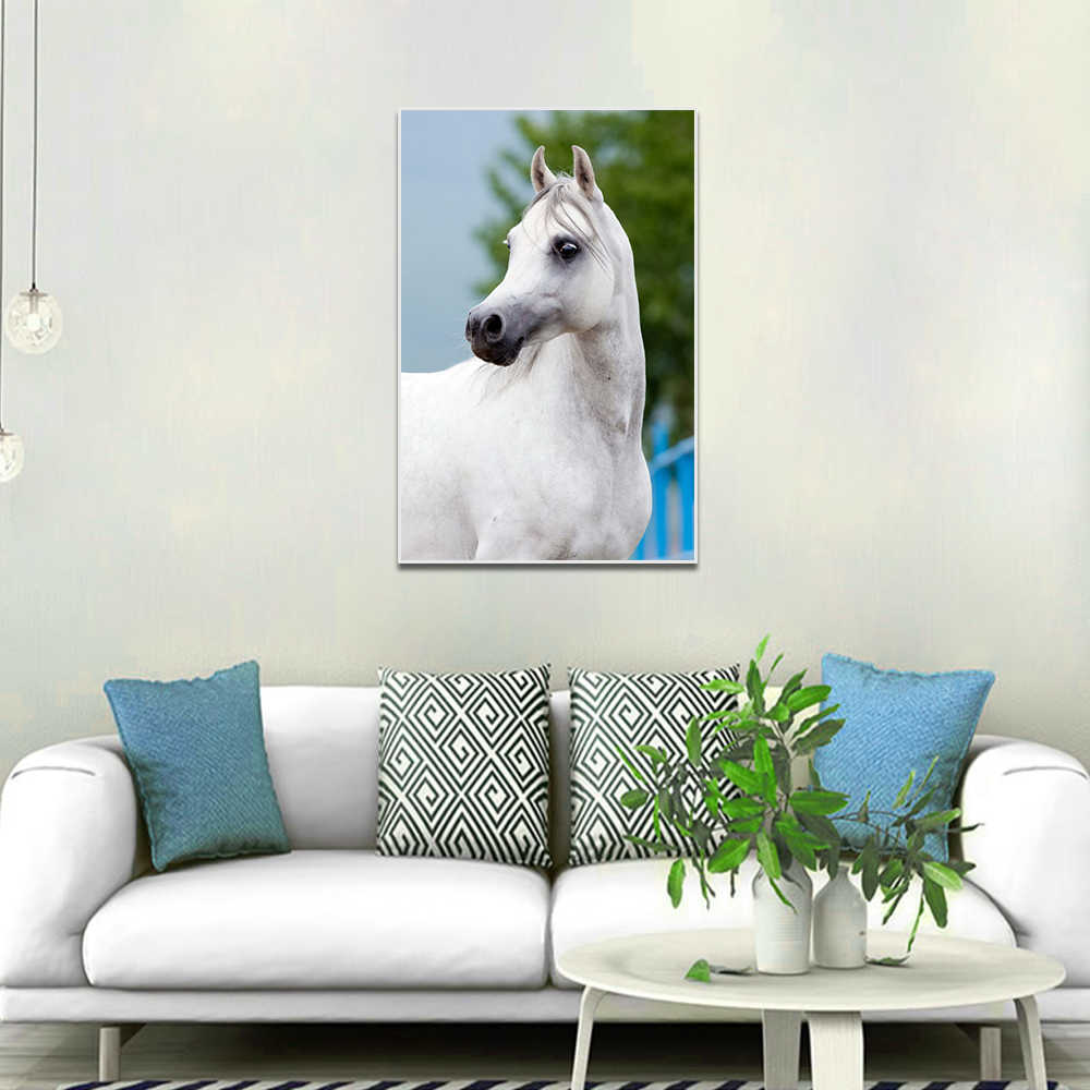 Canvas Animal Painting White Horse Posters And Prints Wall Picture For Living Room Wall Art Decoration Pictures