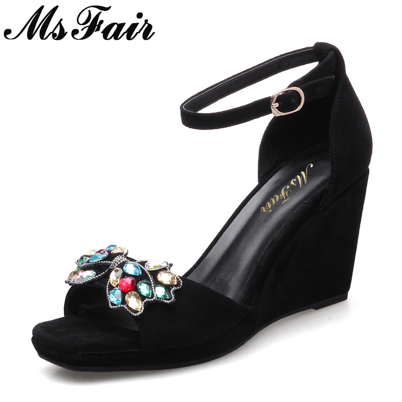 MsFair Women Square Toe Wedges Sandals Fashion Butterfly Crystal High Heels Woman Sandals 2018 New Summer Women High Heel Shoes hzxinlive elegant summer sandals women high heel wedges shoes woman round toe roman sandals ladies footwear female casual shoes