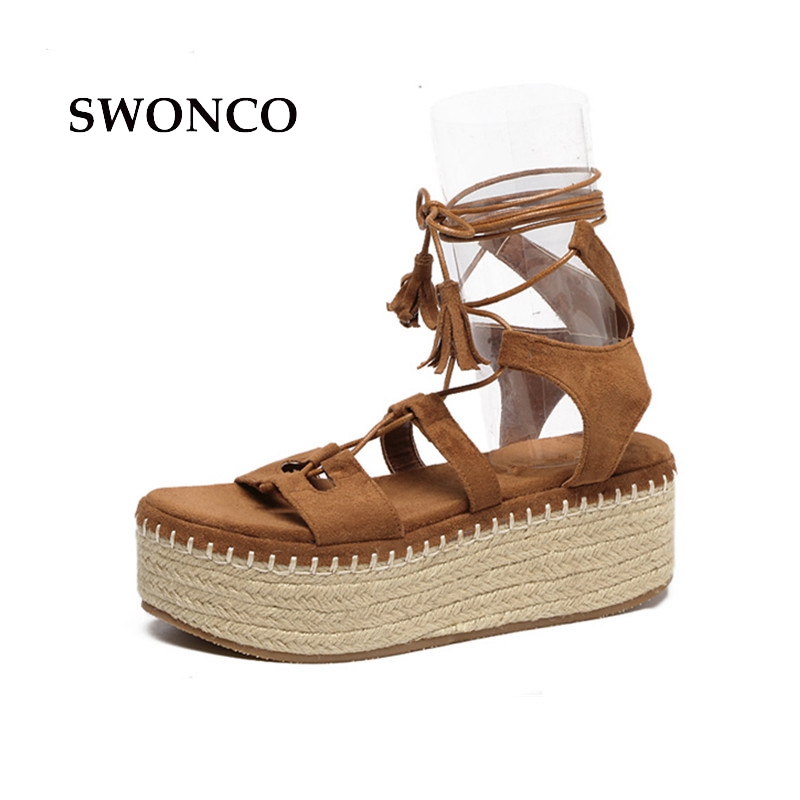 все цены на SWONCO Women's Sandals 2018 Summer 6cm Thick Sole Gladiator Shoes High Heels Sandals Women Platform Fashion Cross-tied Girl Shoe