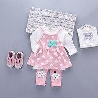 Spring Baby Girls Infants Long Sleeved T Shirts Flower Vest Star Leggings Pants 3pcs Kids Clothing