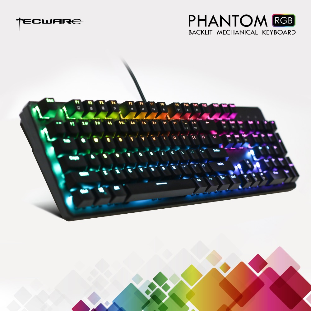 Clavier mécanique TECWARE Phantom 104, LED RGB, interrupteur bleu Outemu, commutateurs supplémentaires fournis, Excellent pour les Gamers