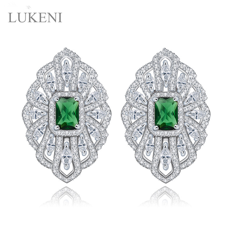 LUKENI New Design Romantic White Color Out micro paved Zircon flowers earring For Gril To Gift Jewelry Free Shipping