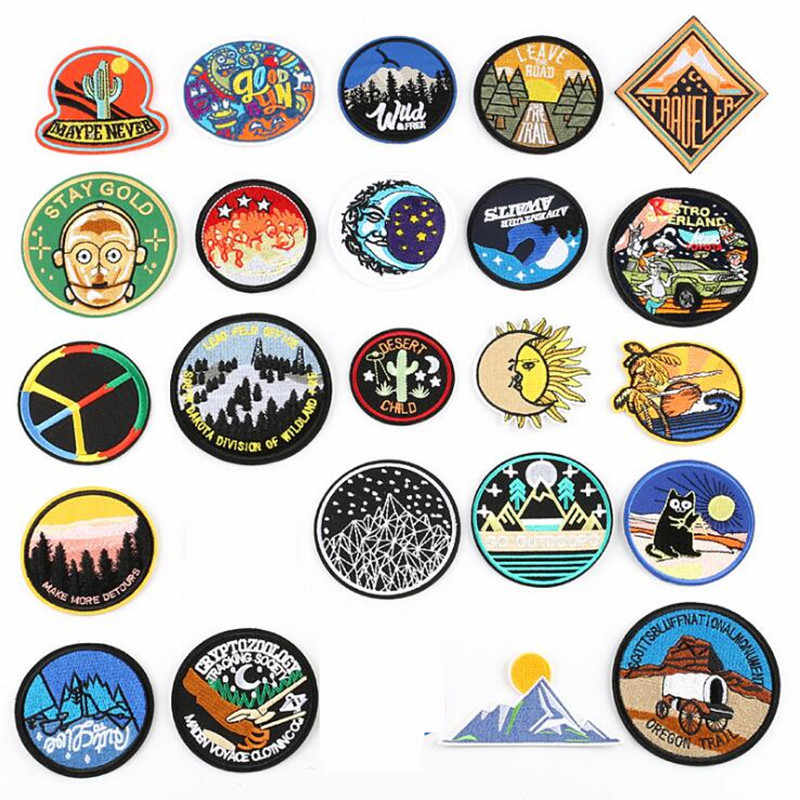 Circular Nature Outdoor Repair Badge Patch Embroidered Patches For Clothing Iron On For Close Shoes Bags Badges Embroidery DIY