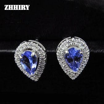 Zhhiry Natural Blue Tanzanite Earring Genuine Solid 925 Sterling Silver Gem Earrings Woman Stone Fine Jewelry
