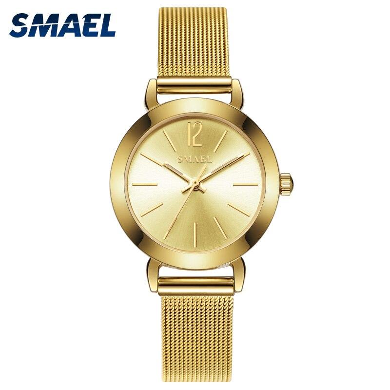 Smael Femmes Montres Dames De Mode 30 M Étanche Dames de Bracelet Montre SL3078 Quartz Montres Mouvement D'or Montres