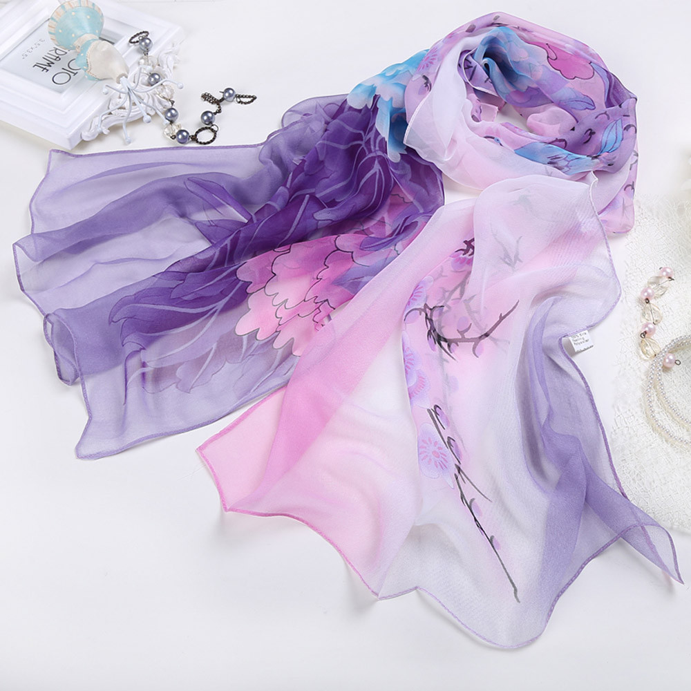 Women Ladies Chiffon Floral   Scarf   Soft   Wrap   Long Shawl Chiffon 164*50cm Elegant design High quality winter shawl fur collar