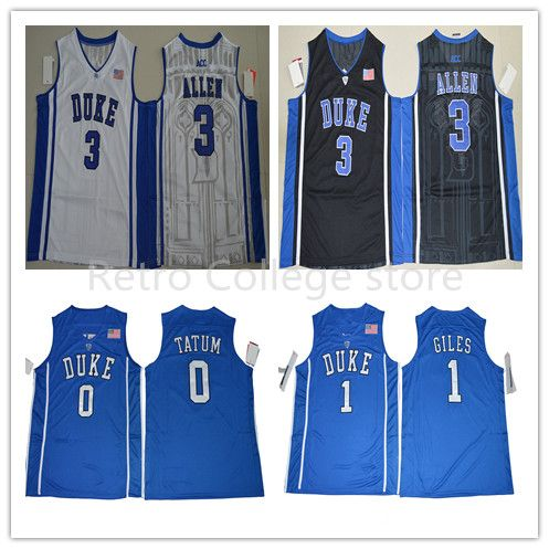 #3 Garyson Allen #1 Harry Giles #0 Jayson Tatum jersey Duke Blue Devils Throwback Jers Retro Basketball Jersey New Material Top