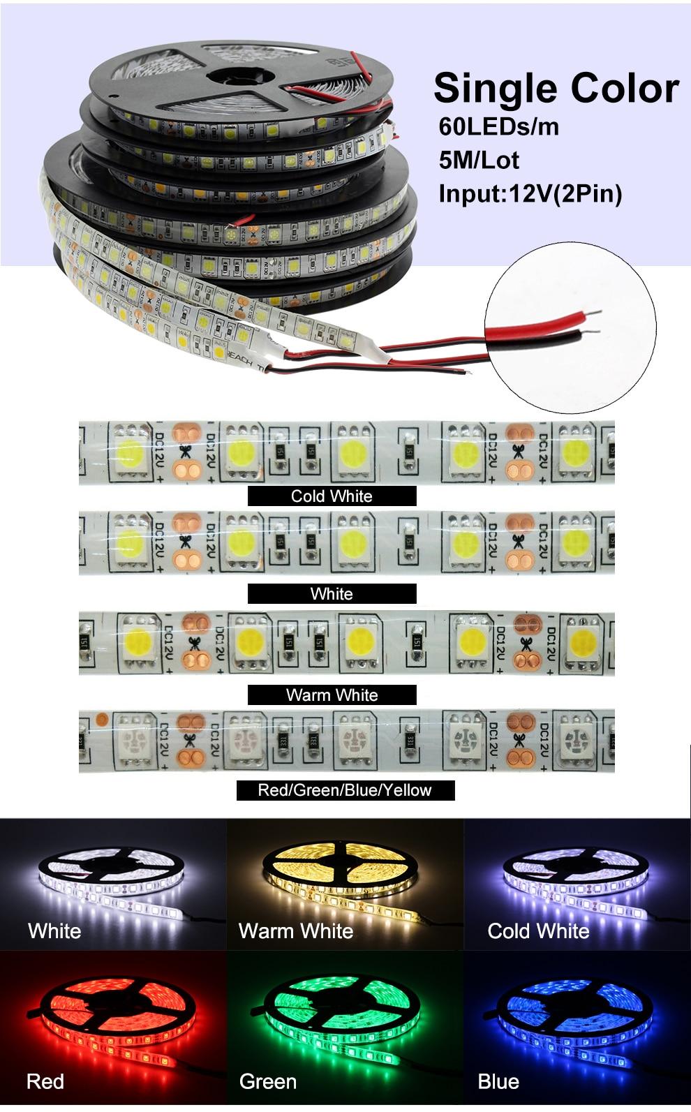 HTB1pZoTKbuWBuNjSszgq6z8jVXaF LED Strip 5050 DC12V 60LEDs/m Flexible LED Light RGB RGBW 5050 LED Strip 300LEDs 5m/lot