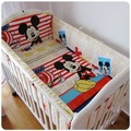 Promotion! 6pcs Mickey Mouse cot bedding set 100% cotton curtain Bed Linen baby cot sets ,include (bumpers+sheet+pillow cover)