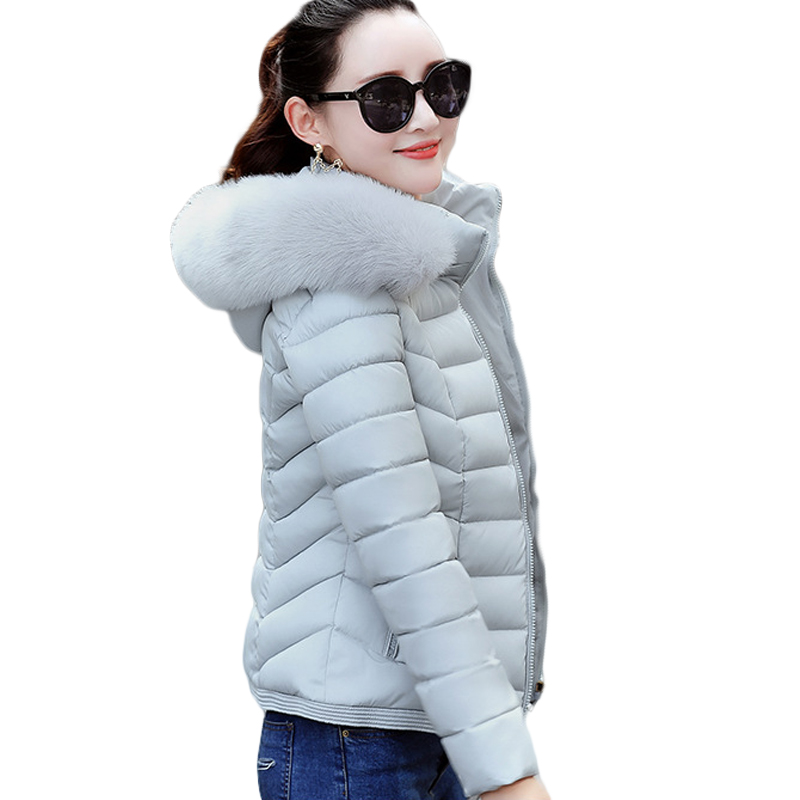 New 2018 Winter Coat Women Soft Fur Collar Winter Jacket Women Hooded Warm Winter Outwear Female Down Cotton   Parkas   Coat D063