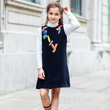 W.L.MONSOON Kids Dresses for Girls Clothes Letter Embroidered 2017 Brand Winter Toddler Girl Dresses Princess Children Clothing