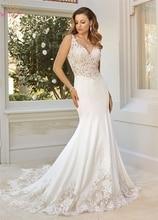Elegant Lace Appliques Wedding Dresses 2019 Summer Sleeveless Backless Stain Bridal Gowns Sweetheart Floor Length vestido noiva