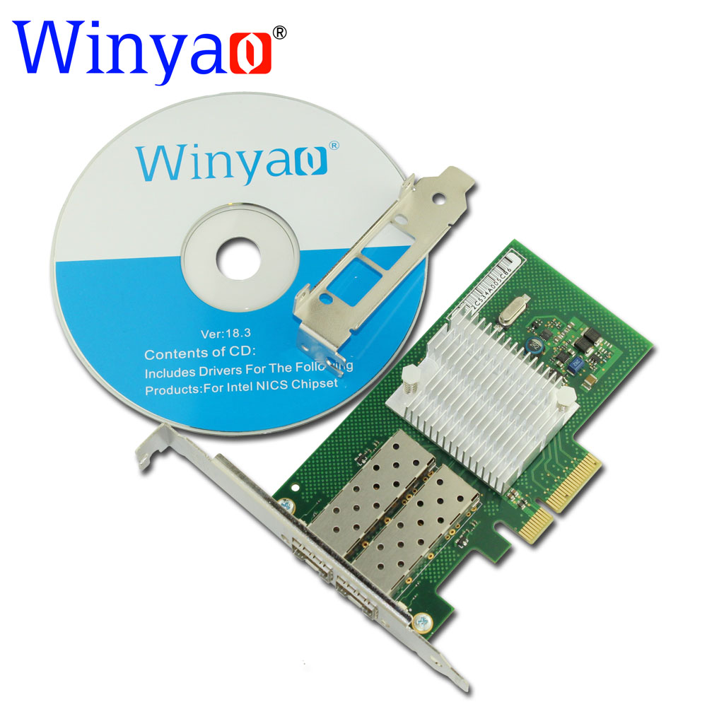 Winyao WYI350F2-SFP PCI Express X4 Dual Port 1000Mbps Gigabit Ethernet Lan Fiber Server network card For I350-F2 Nic pci express dual port 10 100 1000mbps gigabit ethernet controller card server adapter nic expi9402pt 9402pt 82571