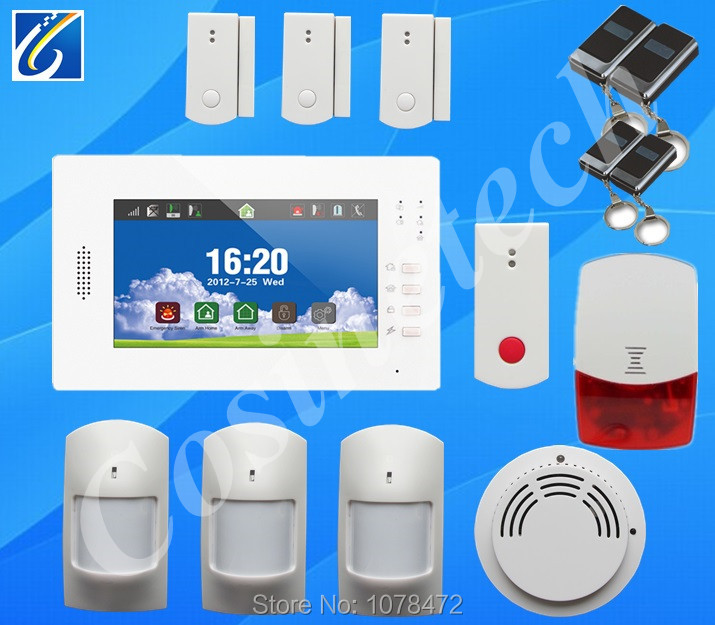 GSM Alarm system with multi-language:English/German/Italian/Dutch menu for option,home security 7 inch touch screen home alarm gsm alarm system with multi language english german italian dutch menu for option home security 7 inch touch screen home alarm