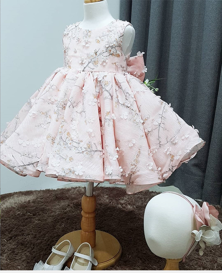 Pink Tulle Baby Girl Dress Summer Baptism Dress for Girls 1st year birthday party wedding Gown Christening infant clothing