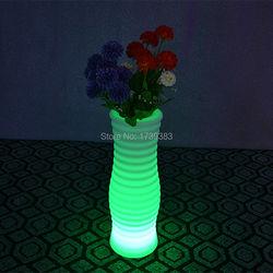 1 pièce changement de couleur rechargeable télécommande LED Lumineux pot de fleur de Vase Lumineux LED Multicolore avec rond XL