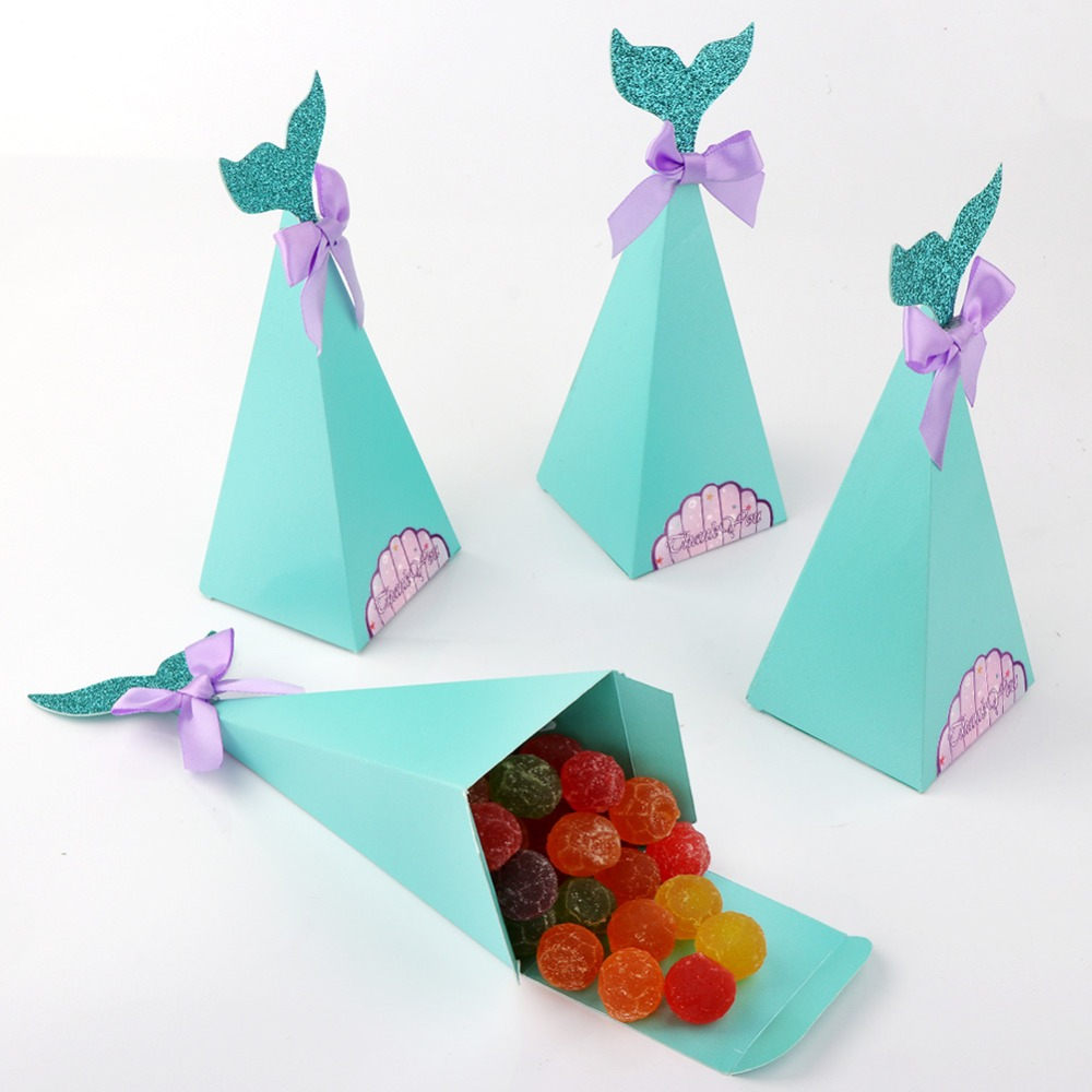 OurWarm Mermaid Birthday Gift Party Game DIY Candy Craft Paper Bags Chocolate Box Wedding Decoration Donut Party Mermaid Theme in Gift Bags Wrapping Supplies from Home Garden