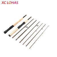 Travel Fishing Tackle 2 Handles Convertible Carbon Fiber Fly Fishing Rod 7 Sections Ultralight Spinning Fishing Rod