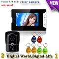 Waterproof wired Home door intercom with color Visible camera 7 inch color TFT LCD Doorbells with video intercom id card unlock
