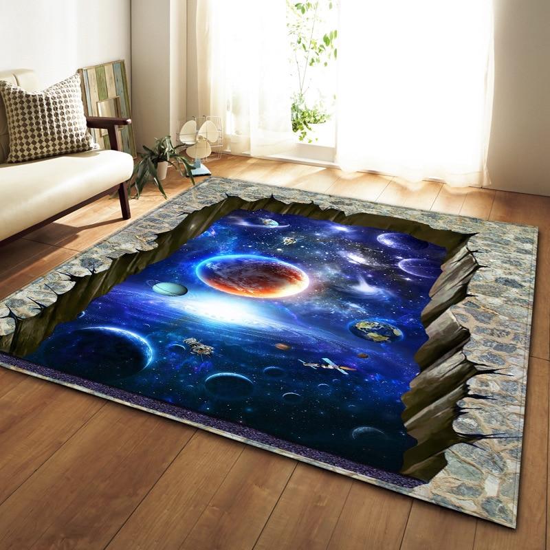 Style nordique tapis salon Galaxy Space 3D imprimé flanelle tapis doux grande surface tapis antidérapant et tapis pour salon décor