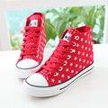 Весна 2017 повседневная обувь женская star женщины холст обувь sapatos femininos красный белый черный размер 35-39