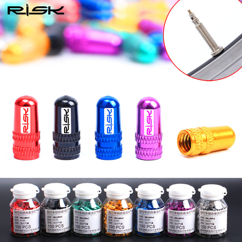 RISK 2Pcs/Set 6 Colors Road MTB Bike Wheel Tire Covered Protector French Tyre Dustproof Bike Bicycle Presta Valve Cap Dust Cover