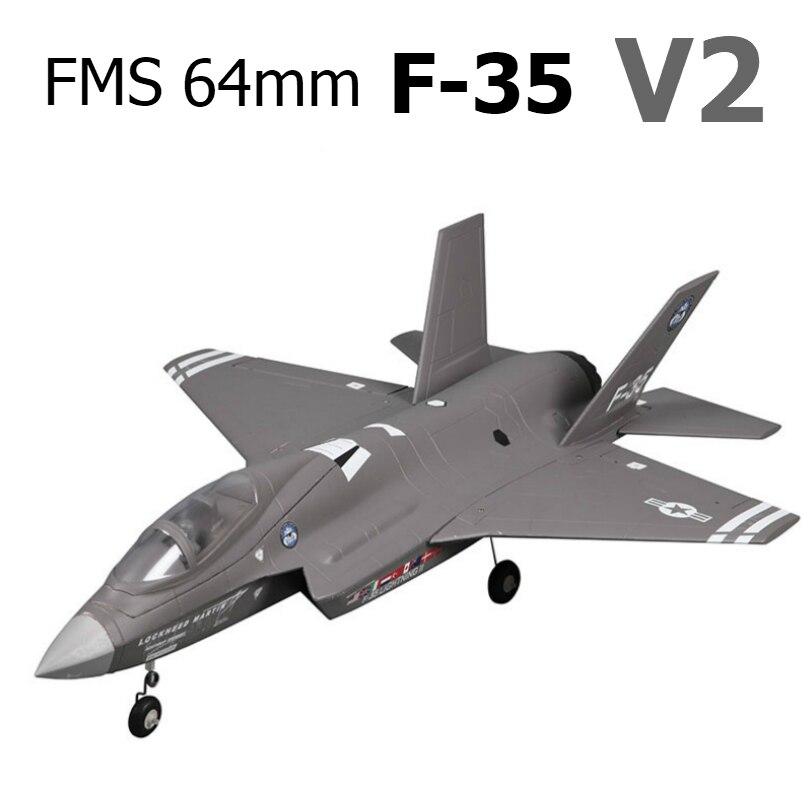 FMS 64mm F35 F-35 V2 éclair conduit ventilateur EDF Jet EPO RC Avion échelle moderne Avion de chasse modèle passe-temps Avion Avion Avion PNP