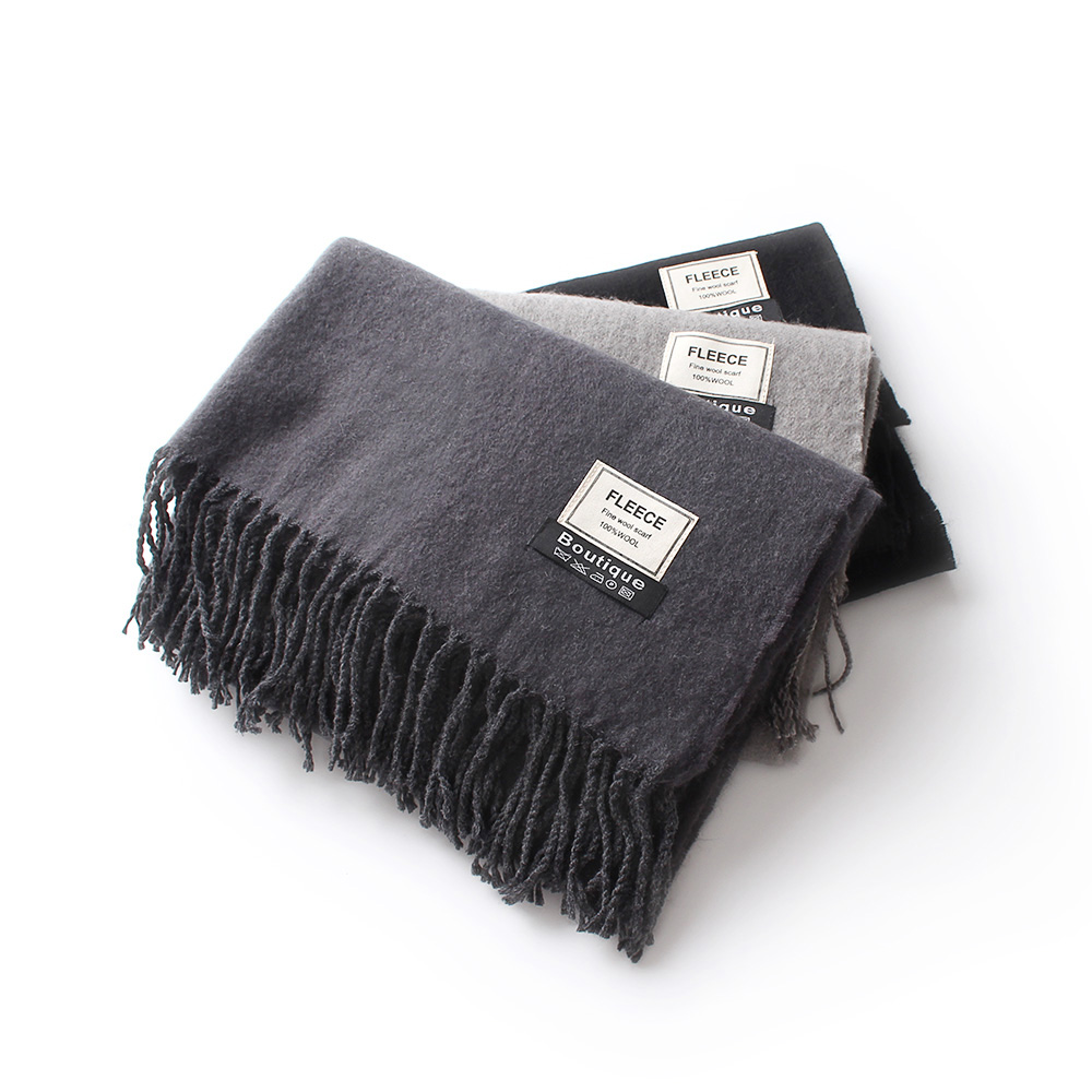 200*70 Cm Solid Color Plain 100% Fine Wool Scarves With Tassel Women Winter Thick Warm Cashmere Scarf Luxury High Quality Shawl
