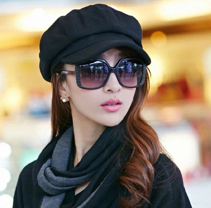 Hat female winter octagonal hat autumn winter trim face show thin wool beret black Visors 1 pcs/lot