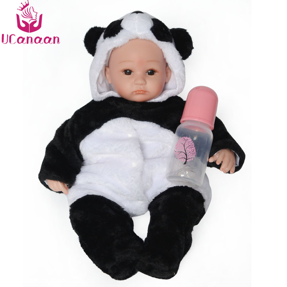UCanaan 16 Inches Reborn Dolls Babies Toys Bald Head Cartoon Panda Clothe Body Doll Reborn Toys for Children Boys Girls Gifts 2018 hot russian cartoon children s toys birthday gifts for girls boys play with friends lol dolls shipping from russia