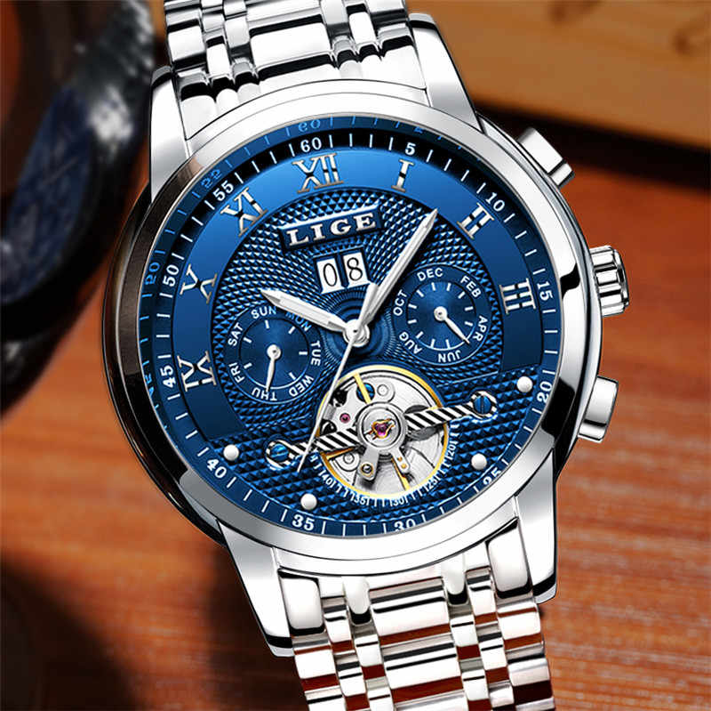 Relógios masculinos lige marca superior de luxo tourbillon automático relógio mecânico dos homens negócios aço inoxidável à prova dlogiágua relógio relogio