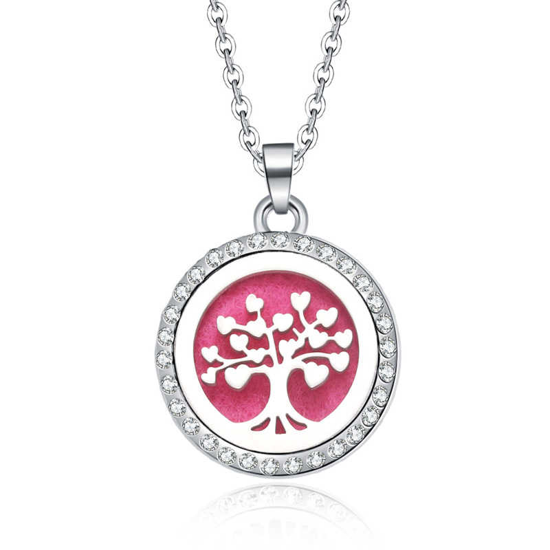 New Aromatherapy necklace Tree of Life open locket Essential Oils Aroma Diffuser rhinestones locket Perfume Pendant Necklace