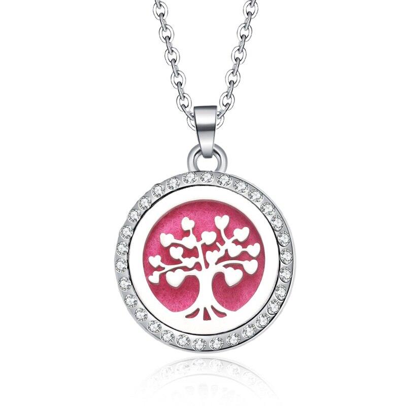 New Aromatherapy Necklace Tree Of Life Open Locket Essential Oils Aroma Diffuser Rhinestones Locket Perfume Pendant Necklace