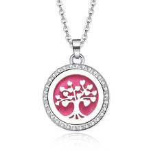 New Aromatherapy necklace Tree of Life open locket Essential Oils Aroma Diffuser rhinestones locket Perfume Pendant Necklace(China)