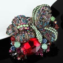 Joyas Broche De mariposa de Lujo Elegante de la vendimia Broches Bijuterias Moda Nupcial de La Boda Hijab Pins Del Relogio masculino