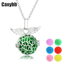 Caxybb Angel Wings Necklaces Silver Medallion Hollow Essential Oil Aromatherapy Diffuser Necklace Appealing Jewelry Open type