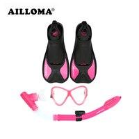 AILLOMA Profesyonel Flippers Solunum Tüpü Dalış Maske Kuru Şnorkel Set Yetişkin Kısa Yüzme Yüzgeçleri Anti-sis Dalgıç Gözlük