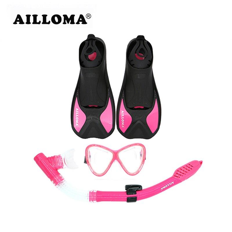 AILLOMA professionnel palmes Tube respiratoire masque de plongée ensemble adulte court nageoires de natation tuba Anti-buée Submersible lunettes