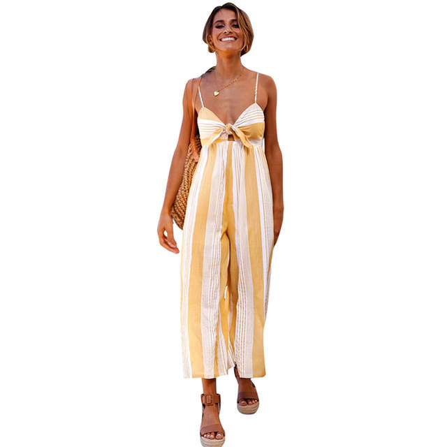 b98c7e41d8 Online Shop Sexy Summer Women Striped Jumpsuit Plunge V-Neck Backless Wide  Leg Pants Playsuit Casual Sleeveless Romper Loose Bodysuit Yellow