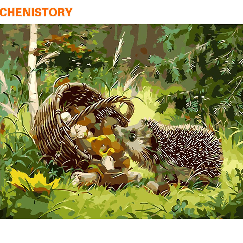 CHENISTORY DIY Painting By Numbers Hedgehog Animals Modern Wall Art Picture Hand Painted Oil Painiting On Canvas For Gift 40x50