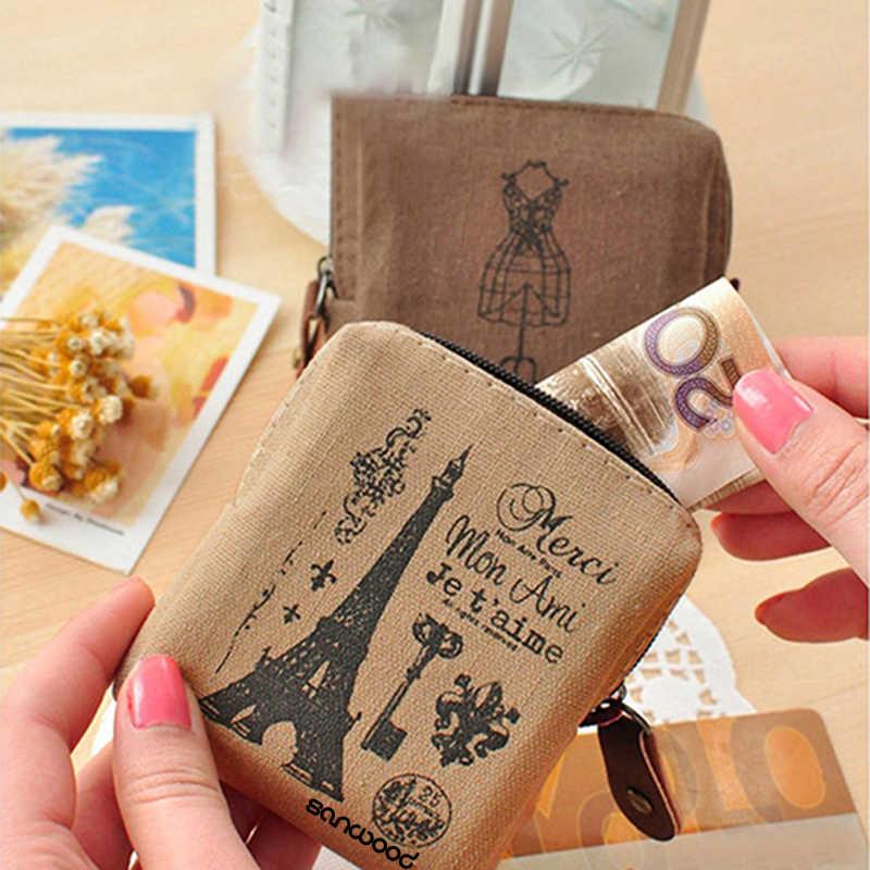 Mulheres Menina do vintage De Linho Torre Eiffel Coin Purse Mini Carteira Titulares de Cartão