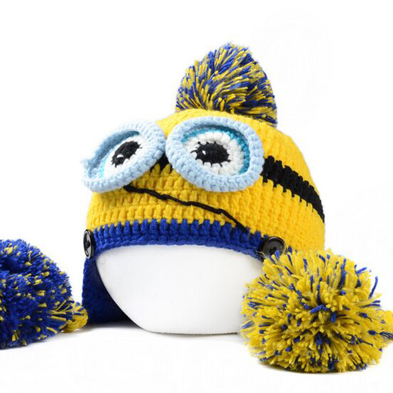 Winter Novel Style Despicable Me Minions Bulb Cap Handmade Cap Two