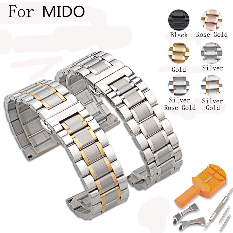14MM/16MM/17MM/18MM/19MM/20MM/21MM/22MM/23MM/24MM Silver Black Full Stainless Steel Watch Strap Wacthband For MIDO With LOGO