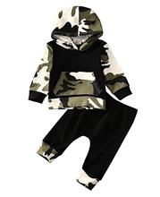 Oklady Yoveme Newborn Tollder Baby Boys Camouflage Hoodie Tops +Long Pants Outfits Set Clothes
