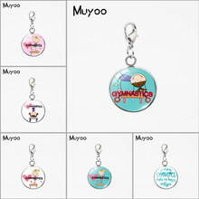 Cartoon Gymnast Silhouette Design Signs Glass Dome Charms Pendant Love Gymnastic Peace Love Gymnastics Stainless Steel Charms(China)
